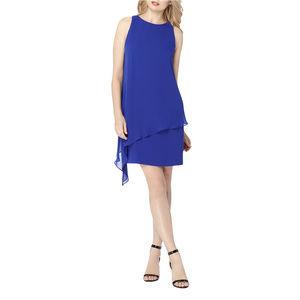 Tahari - Chiffon Overlay Crepe Dress - Cobalt